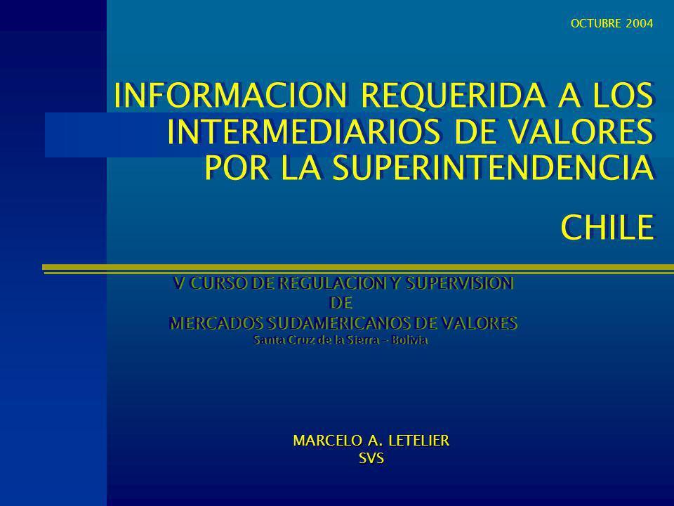 OCTUBRE 2004 INFORMACION REQUERIDA A LOS INTERMEDIARIOS DE VALORES POR LA SUPERINTENDENCIA. CHILE.
