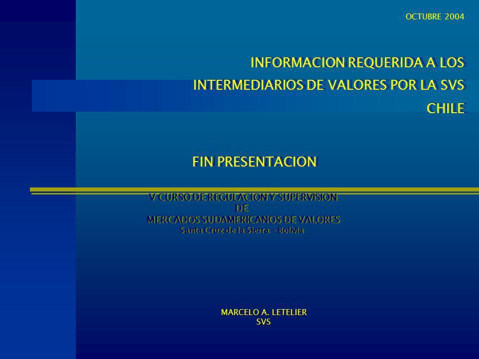 INFORMACION REQUERIDA A LOS INTERMEDIARIOS DE VALORES POR LA SVS CHILE