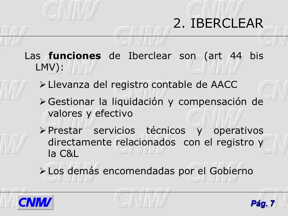 2. IBERCLEAR Las funciones de Iberclear son (art 44 bis LMV):