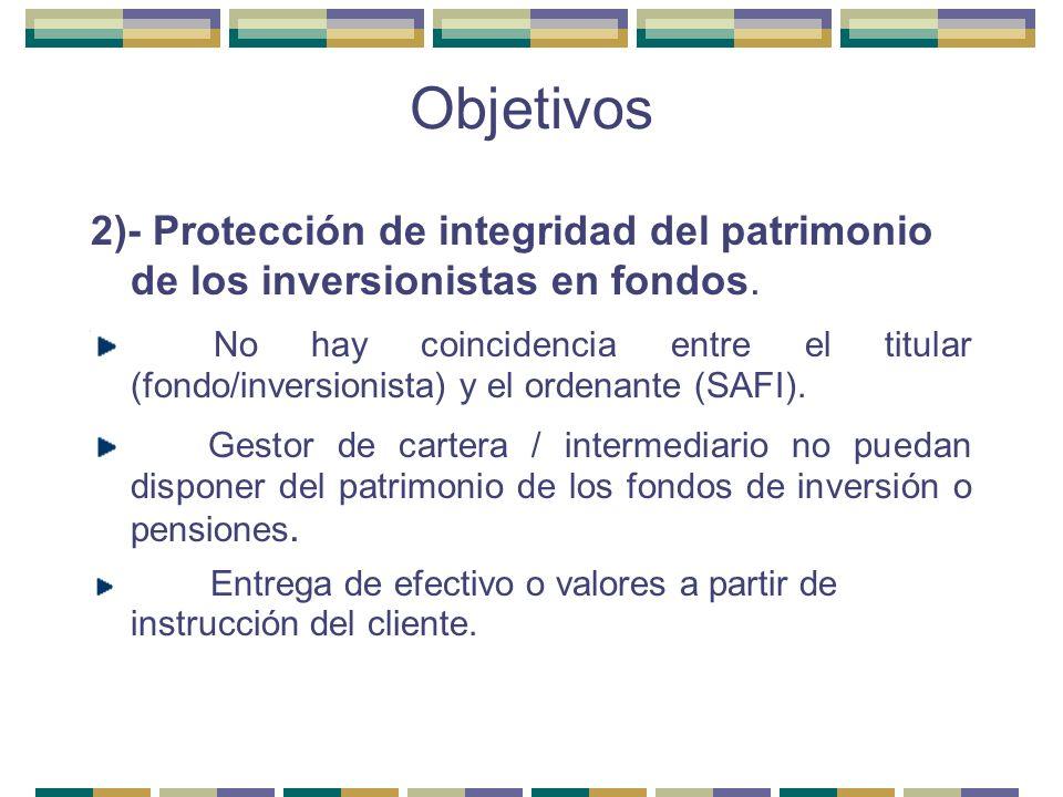 Objetivos 2)- Protección de integridad del patrimonio de los inversionistas en fondos.