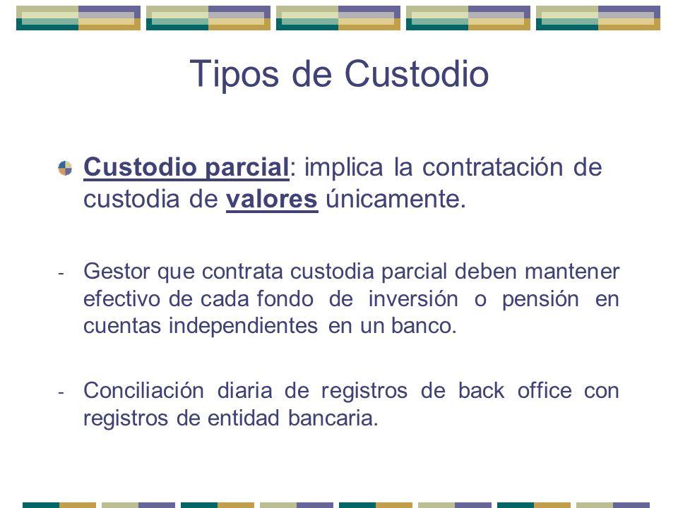 Tipos de Custodio Custodio parcial: implica la contratación de custodia de valores únicamente.