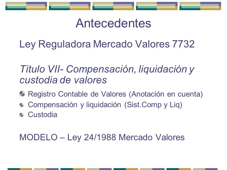 Antecedentes Ley Reguladora Mercado Valores 7732