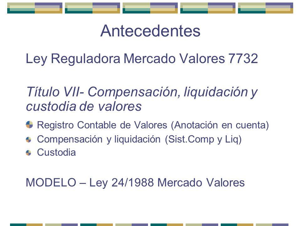 Antecedentes Ley Reguladora Mercado Valores 7732
