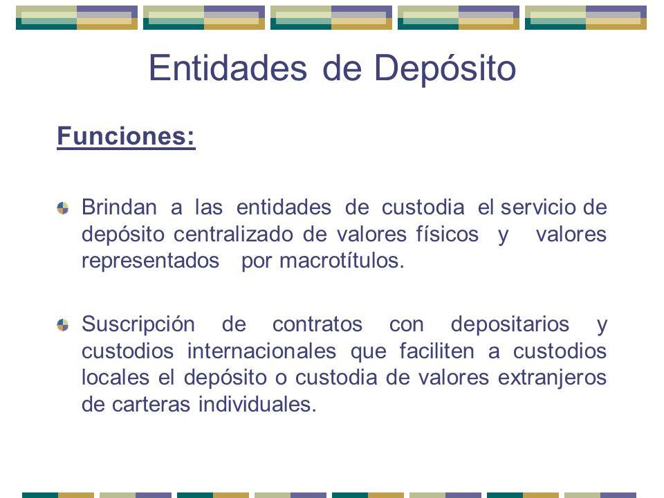 Entidades de Depósito Funciones: