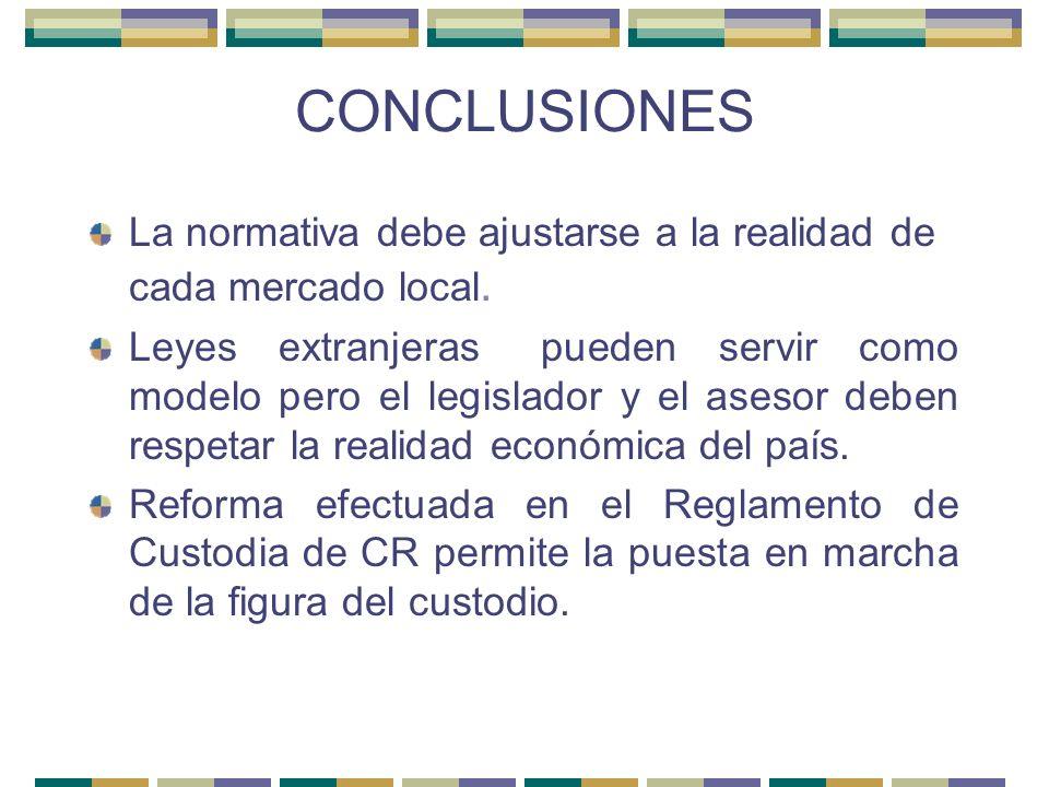 CONCLUSIONES La normativa debe ajustarse a la realidad de cada mercado local.
