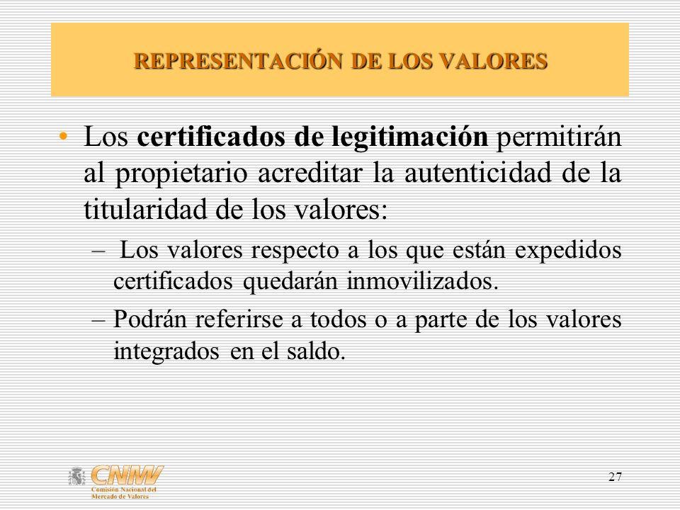 REPRESENTACIÓN DE LOS VALORES