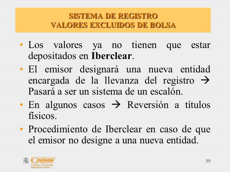 SISTEMA DE REGISTRO VALORES EXCLUIDOS DE BOLSA