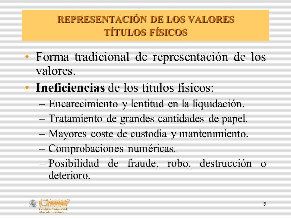 REPRESENTACIÓN DE LOS VALORES TÍTULOS FÍSICOS
