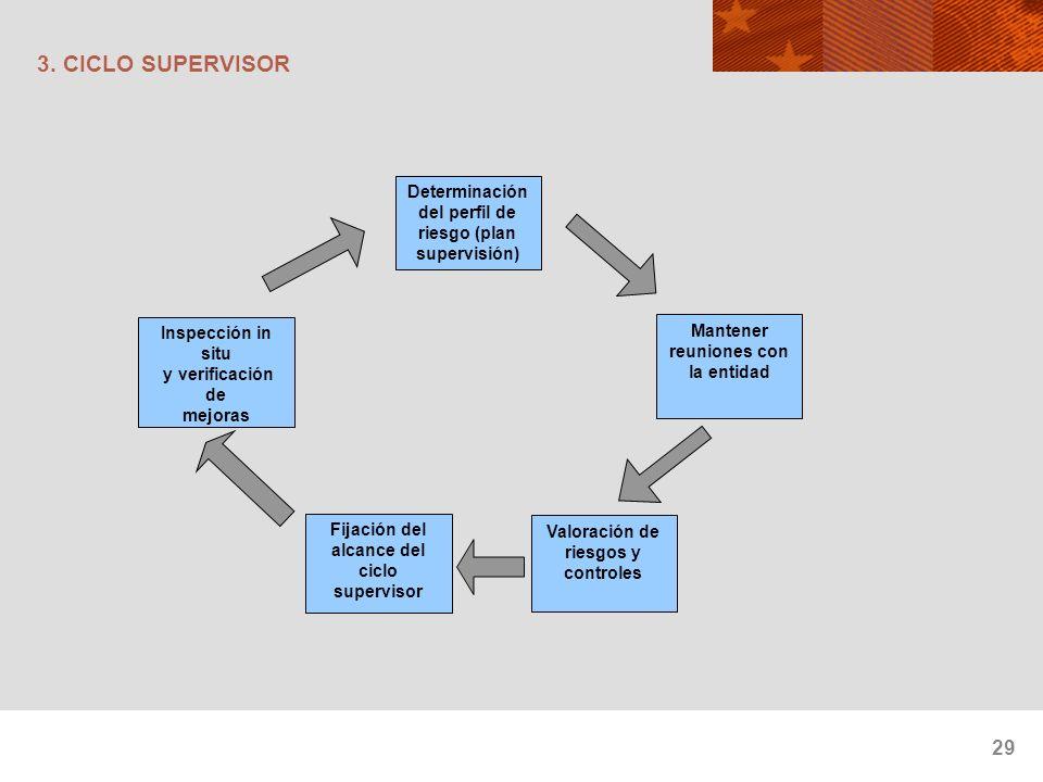 3. CICLO SUPERVISOR Determinación del perfil de riesgo (plan supervisión) Inspección in situ. y verificación de.