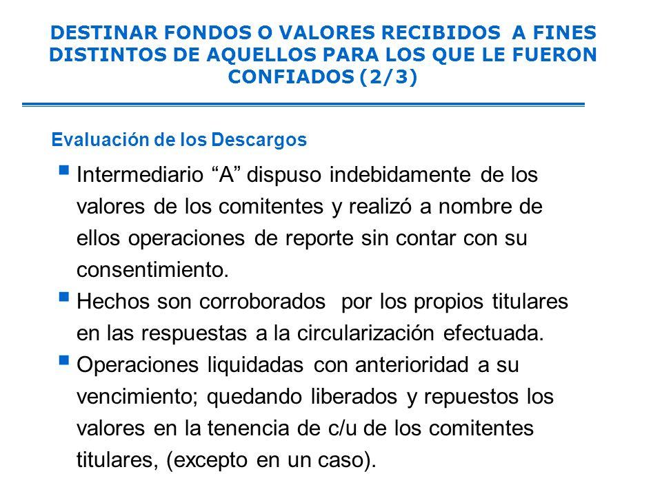 DESTINAR FONDOS O VALORES RECIBIDOS A FINES DISTINTOS DE AQUELLOS PARA LOS QUE LE FUERON CONFIADOS (2/3)
