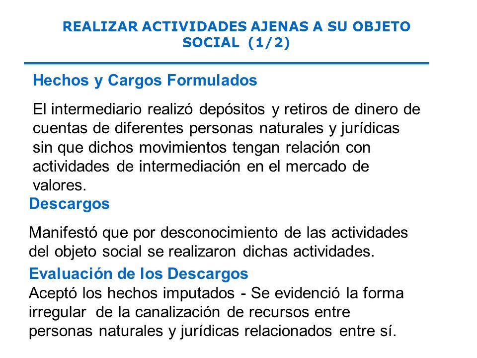 REALIZAR ACTIVIDADES AJENAS A SU OBJETO SOCIAL (1/2)