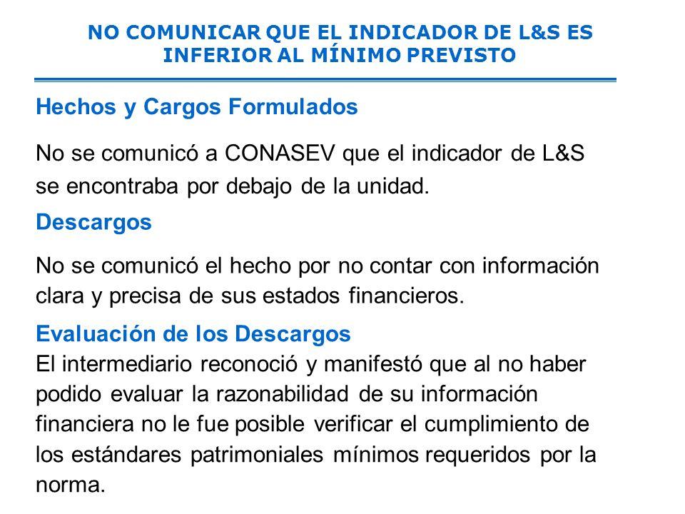 NO COMUNICAR QUE EL INDICADOR DE L&S ES INFERIOR AL MÍNIMO PREVISTO