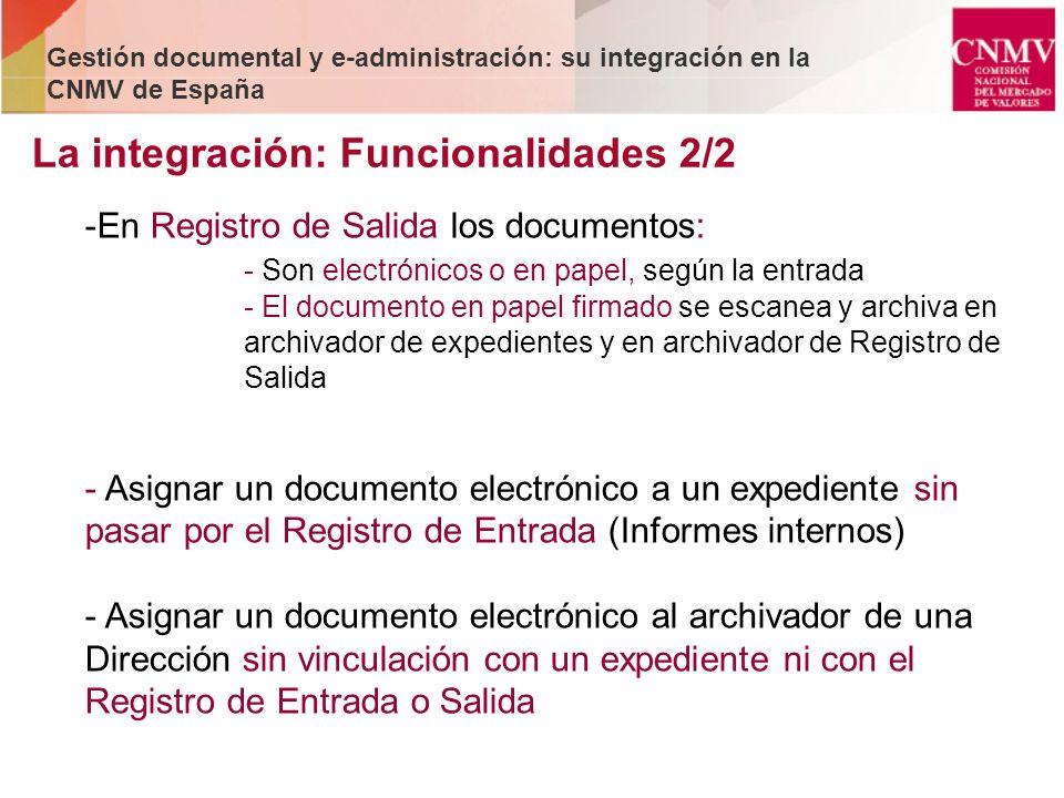 La integración: Funcionalidades 2/2