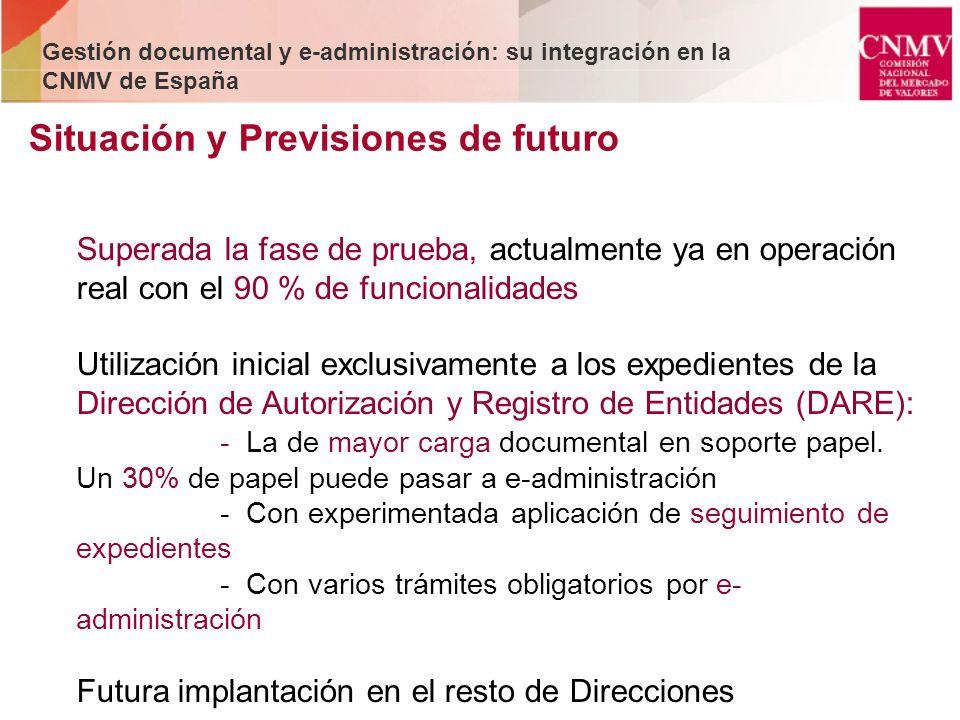 Situación y Previsiones de futuro