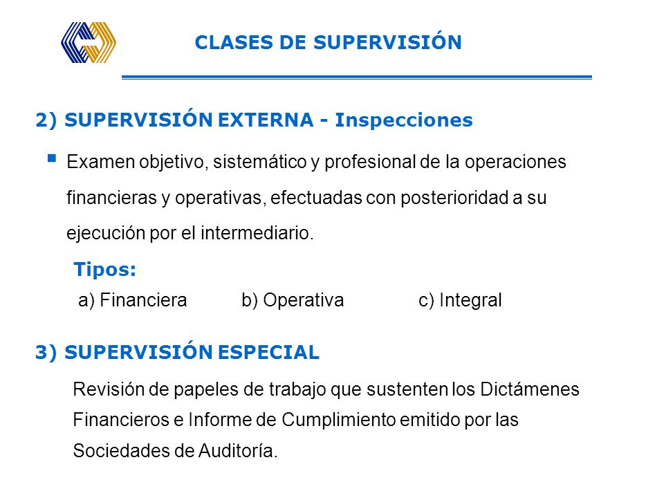 CLASES DE SUPERVISIÓN 2) SUPERVISIÓN EXTERNA - Inspecciones.