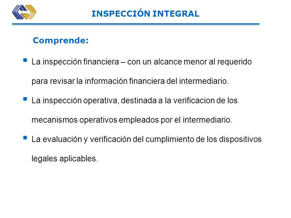 INSPECCIÓN INTEGRALComprende: La inspección financiera – con un alcance menor al requerido para revisar la información financiera del intermediario.
