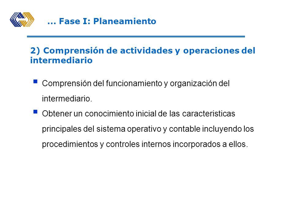 ... Fase I: Planeamiento 2) Comprensión de actividades y operaciones del intermediario.