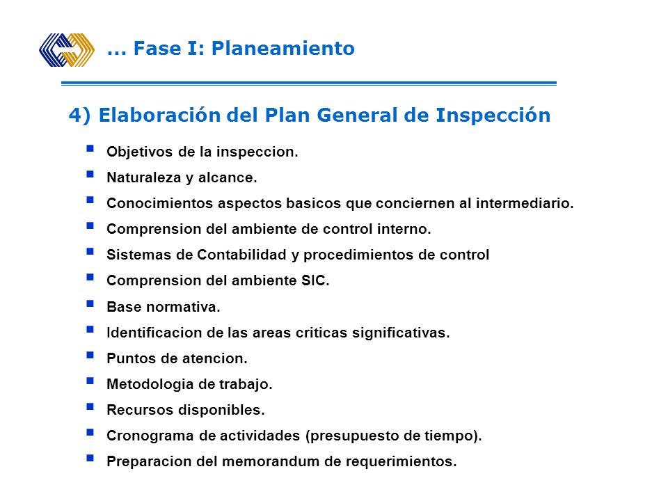 4) Elaboración del Plan General de Inspección