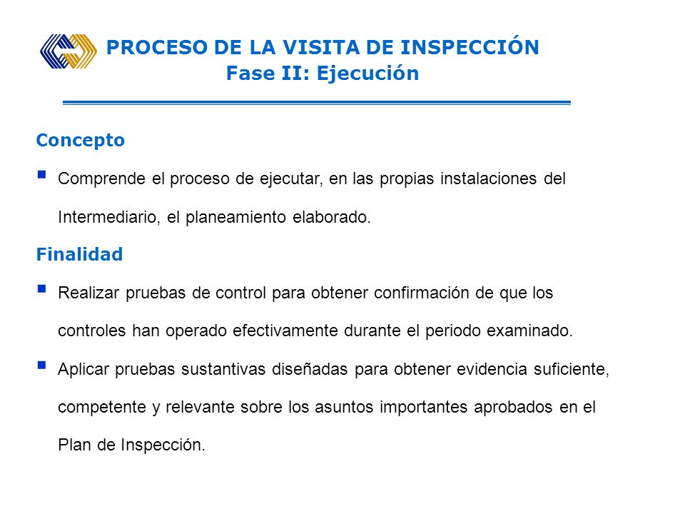 PROCESO DE LA VISITA DE INSPECCIÓN