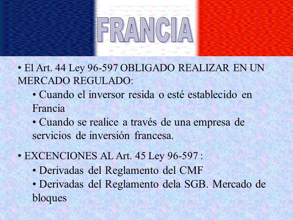 FRANCIA El Art. 44 Ley 96-597 OBLIGADO REALIZAR EN UN MERCADO REGULADO: Cuando el inversor resida o esté establecido en Francia.