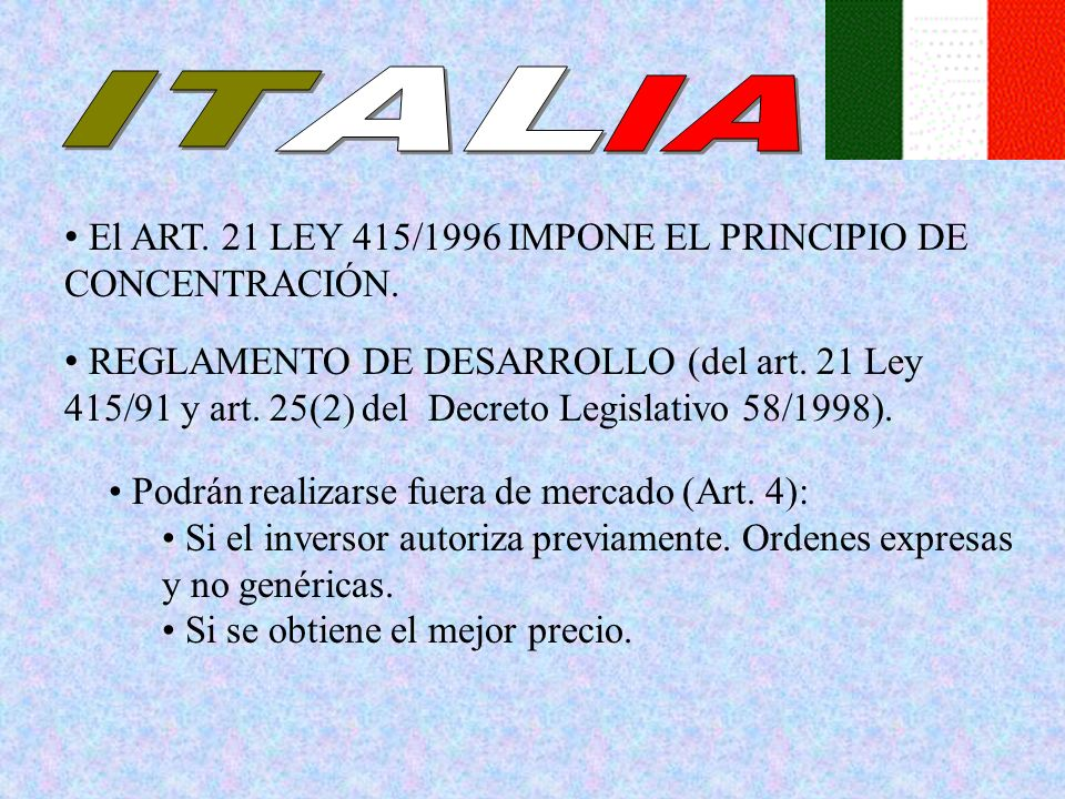 AL IT IA El ART. 21 LEY 415/1996 IMPONE EL PRINCIPIO DE CONCENTRACIÓN.