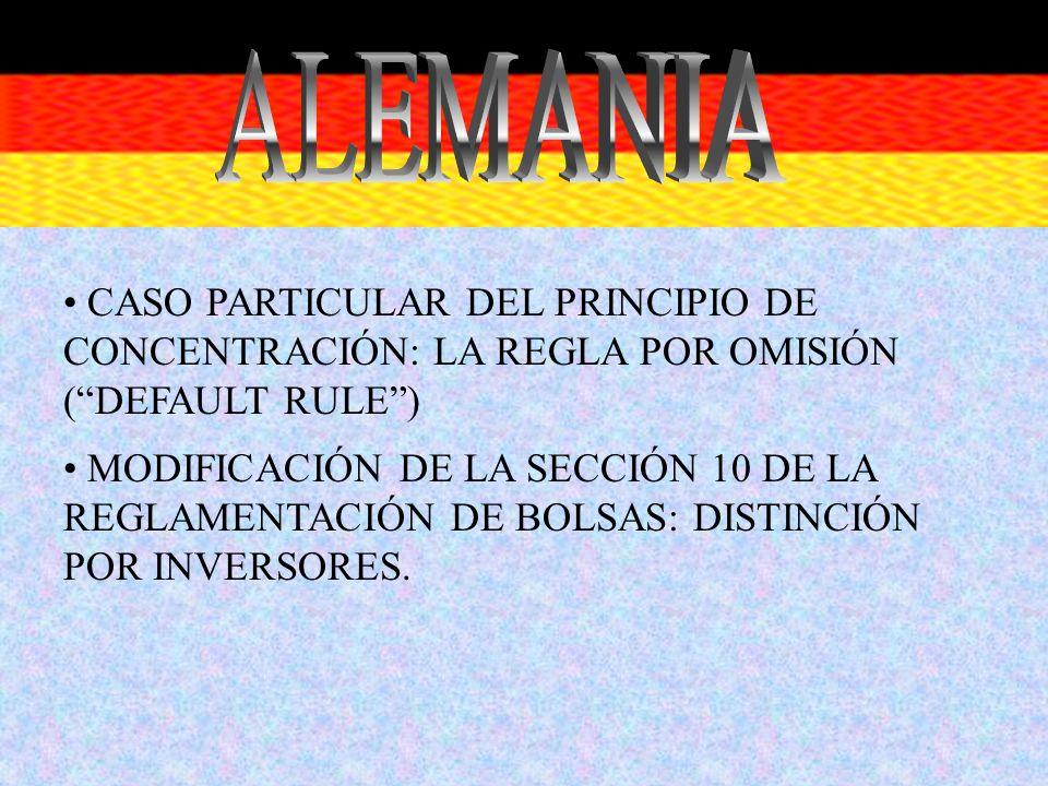 ALEMANIA CASO PARTICULAR DEL PRINCIPIO DE CONCENTRACIÓN: LA REGLA POR OMISIÓN ( DEFAULT RULE )