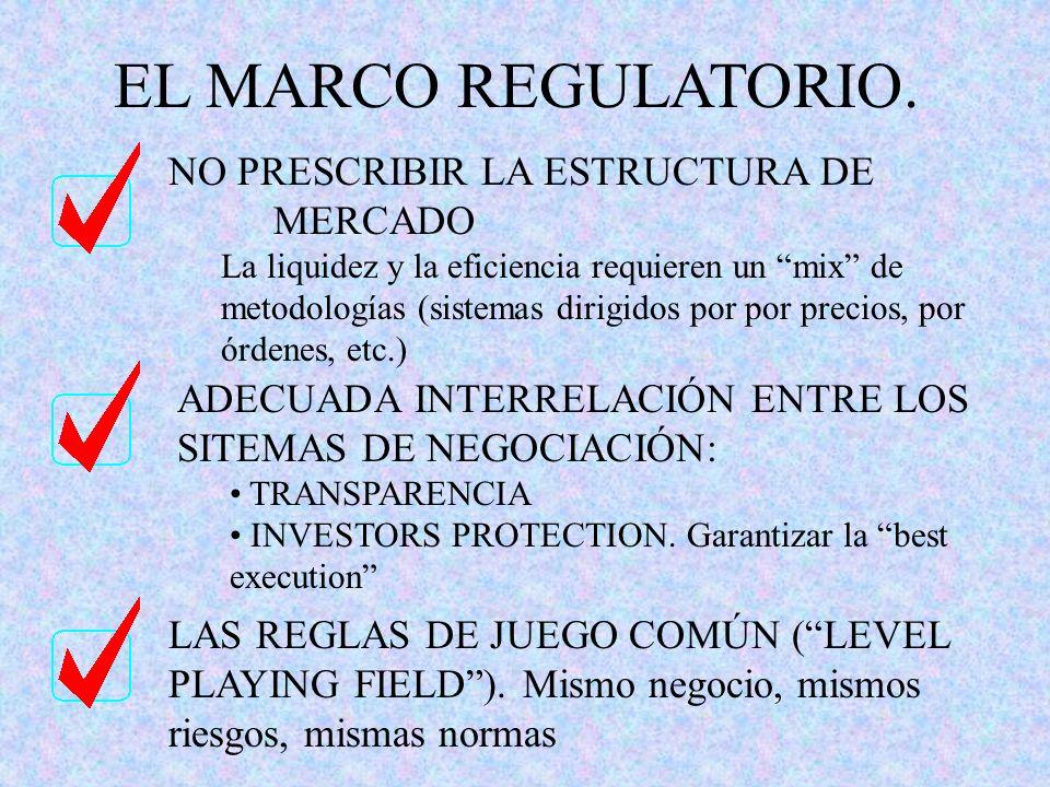 EL MARCO REGULATORIO. NO PRESCRIBIR LA ESTRUCTURA DE MERCADO