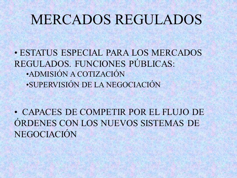 MERCADOS REGULADOS ESTATUS ESPECIAL PARA LOS MERCADOS REGULADOS. FUNCIONES PÚBLICAS: ADMISIÓN A COTIZACIÓN.