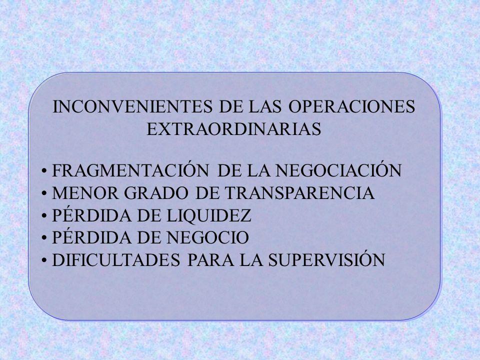 INCONVENIENTES DE LAS OPERACIONES EXTRAORDINARIAS