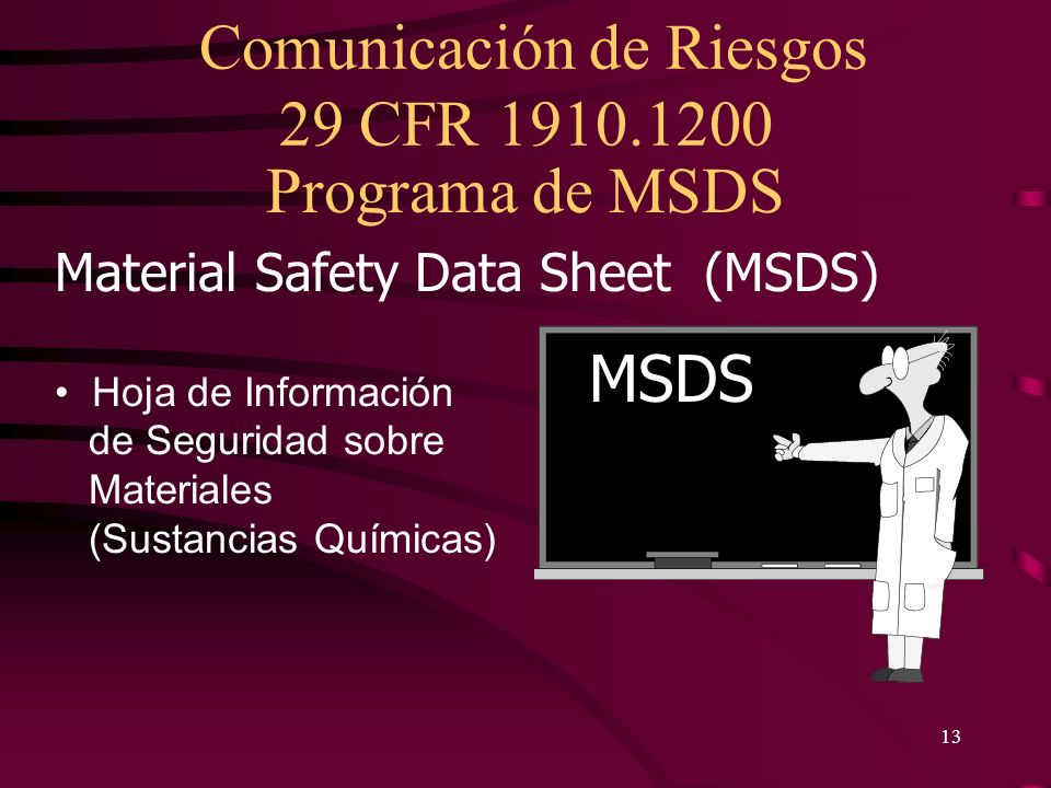 Programa de MSDS MSDS Material Safety Data Sheet (MSDS)