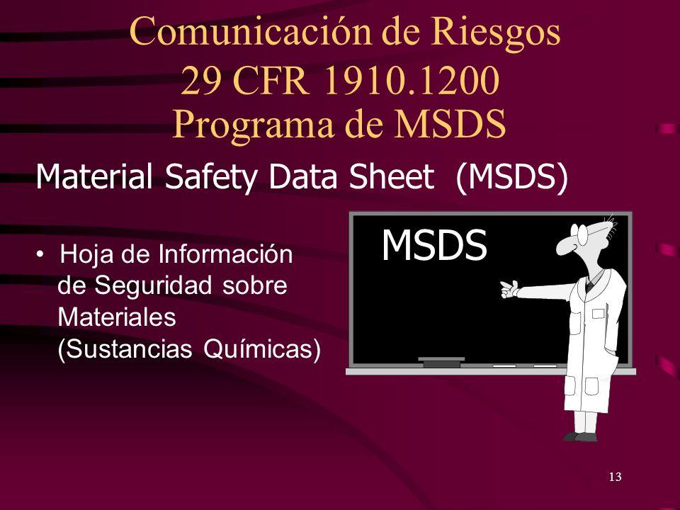 Programa de MSDS MSDS Material Safety Data Sheet (MSDS)