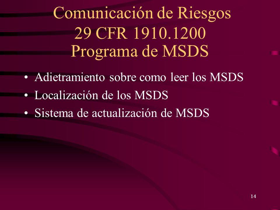 Programa de MSDS Adietramiento sobre como leer los MSDS