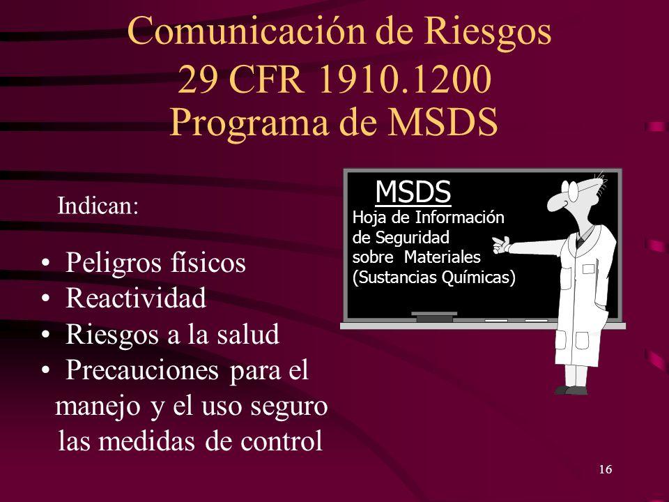 Programa de MSDS MSDS Peligros físicos Reactividad Riesgos a la salud