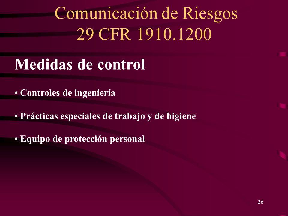 Medidas de control Controles de ingeniería