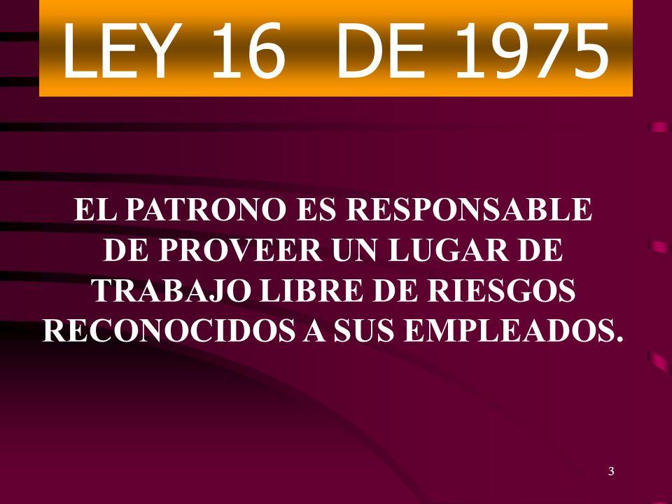 LEY 16 DE 1975 EL PATRONO ES RESPONSABLE DE PROVEER UN LUGAR DE