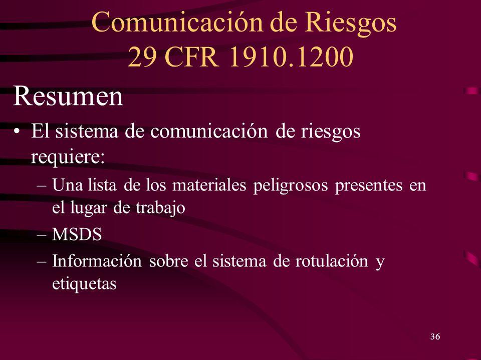 Resumen El sistema de comunicación de riesgos requiere: