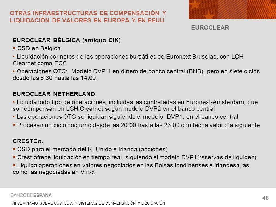 OTRAS INFRAESTRUCTURAS DE COMPENSACIÓN Y LIQUIDACIÓN DE VALORES EN EUROPA Y EN EEUU