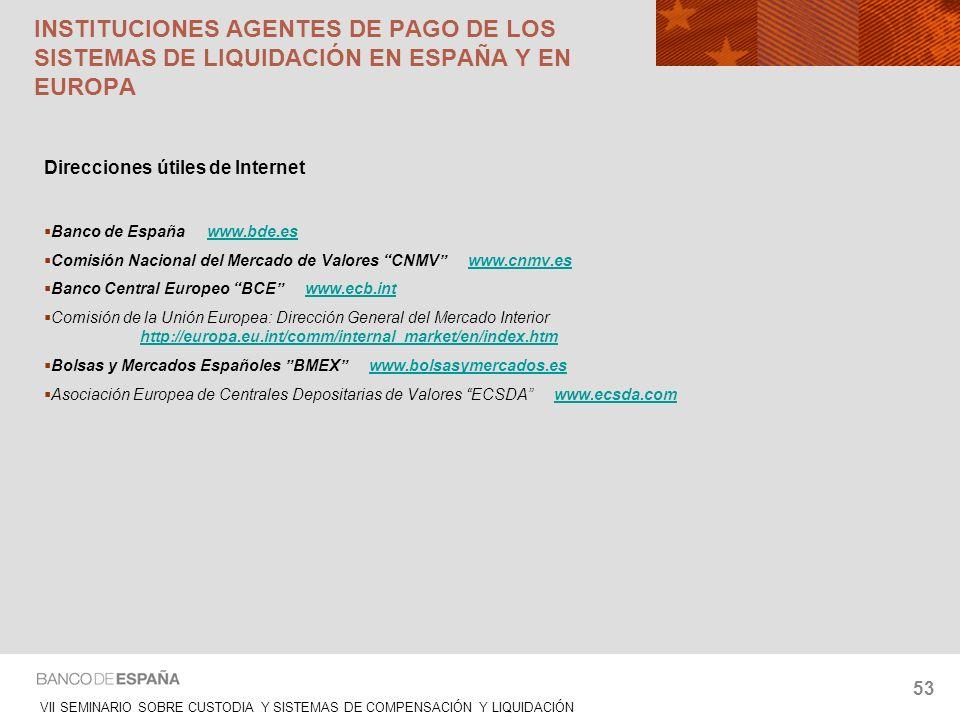INSTITUCIONES AGENTES DE PAGO DE LOS SISTEMAS DE LIQUIDACIÓN EN ESPAÑA Y EN EUROPA