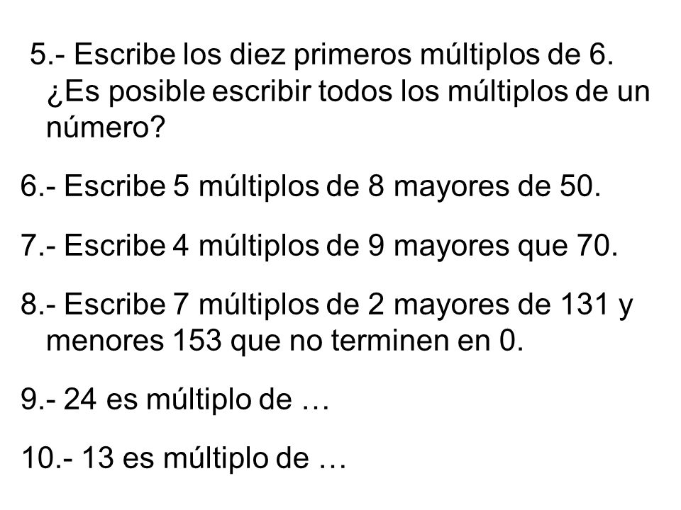 M ltiplos de un n mero qu es ppt video online descargar for Multiples de 6