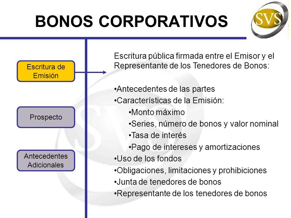 BONOS CORPORATIVOS Escritura pública firmada entre el Emisor y el Representante de los Tenedores de Bonos:
