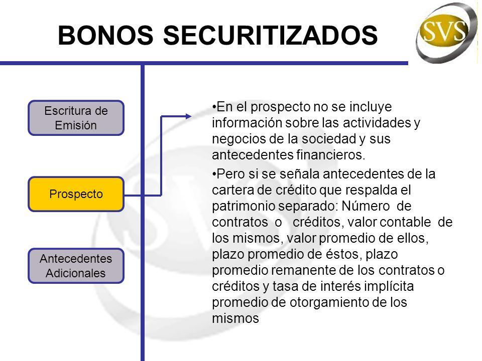 BONOS SECURITIZADOS En el prospecto no se incluye información sobre las actividades y negocios de la sociedad y sus antecedentes financieros.