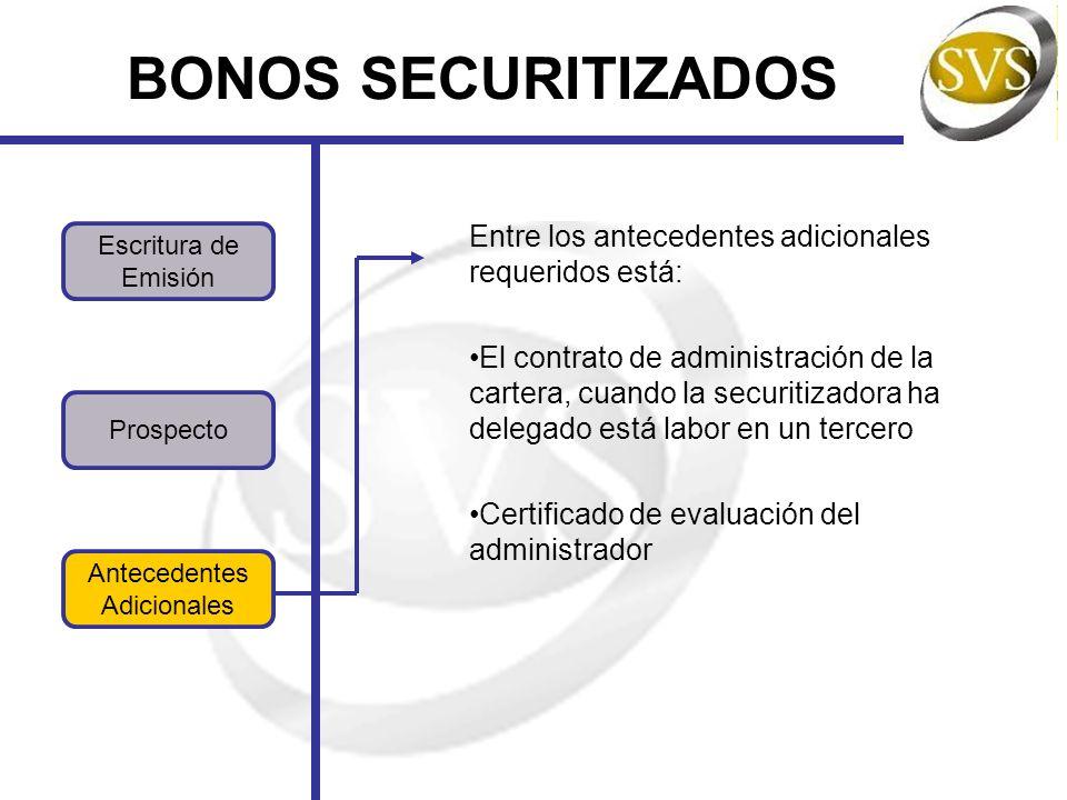 BONOS SECURITIZADOS Entre los antecedentes adicionales requeridos está: