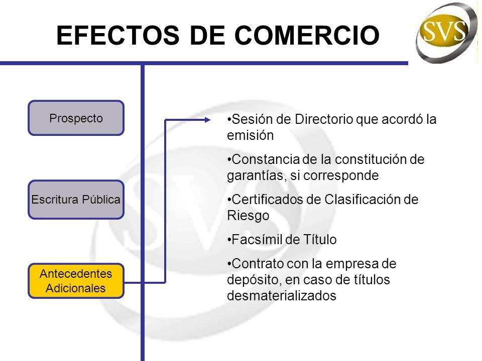 EFECTOS DE COMERCIO Sesión de Directorio que acordó la emisión