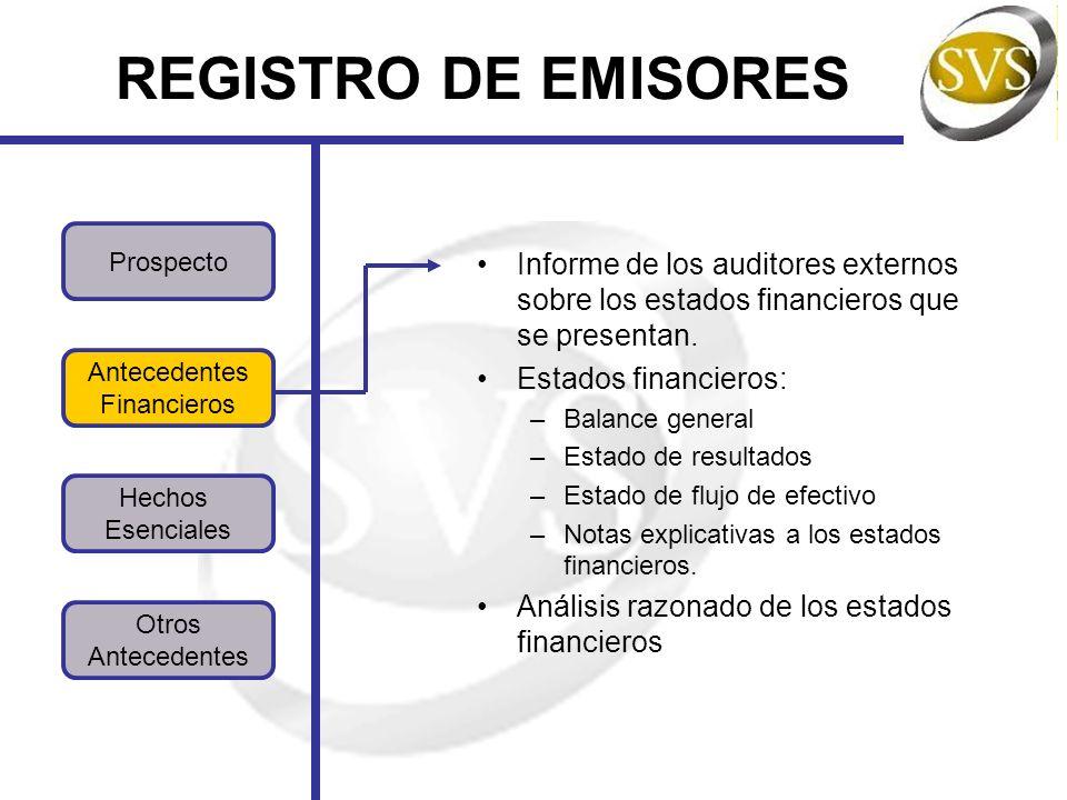 REGISTRO DE EMISORES Informe de los auditores externos sobre los estados financieros que se presentan.