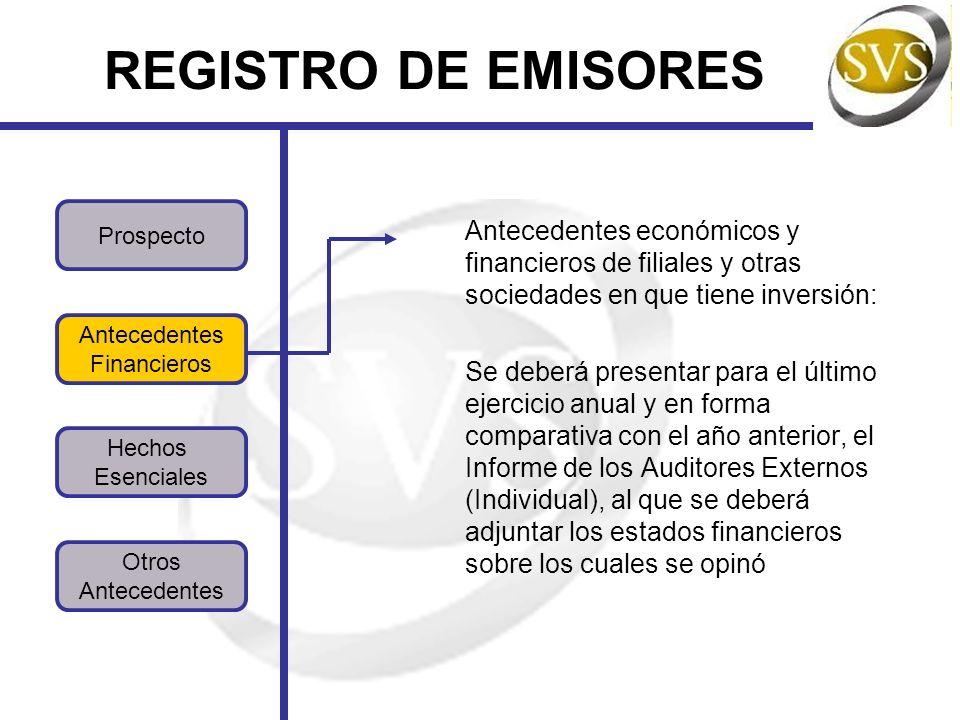 REGISTRO DE EMISORES Prospecto. Antecedentes económicos y financieros de filiales y otras sociedades en que tiene inversión: