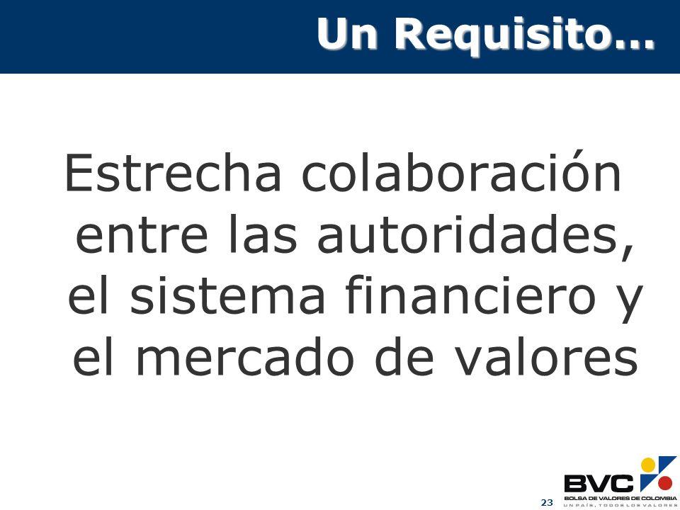 Un Requisito…Estrecha colaboración entre las autoridades, el sistema financiero y el mercado de valores.