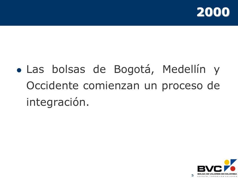 2000 Las bolsas de Bogotá, Medellín y Occidente comienzan un proceso de integración.