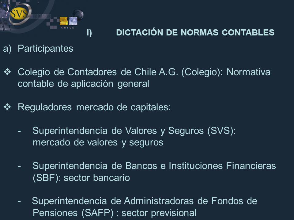 I) DICTACIÓN DE NORMAS CONTABLES
