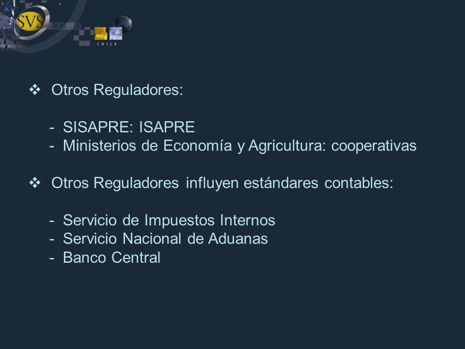 Otros Reguladores: - SISAPRE: ISAPRE. - Ministerios de Economía y Agricultura: cooperativas. Otros Reguladores influyen estándares contables: