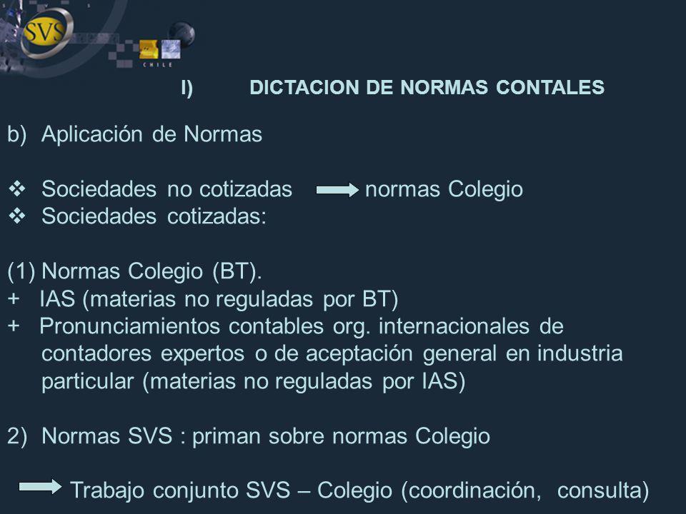I) DICTACION DE NORMAS CONTALES